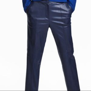NWT H&M Navy Blue Stretch Leather Look Pants Size4